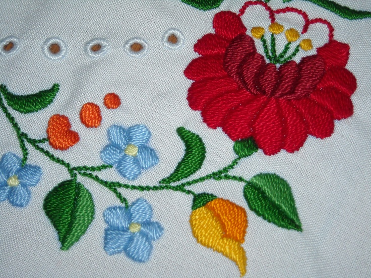 Kalocsa embroidery table runner hand embroidered with traditional hungarian motif