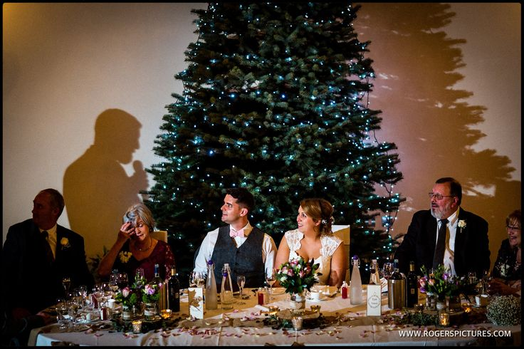 Speeches at a Christmas wedding - http://www.rogerspictures.com/rivervale-barn-wedding-photography