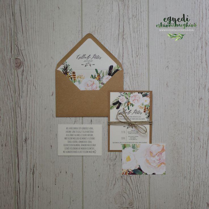 Vintage floral wedding invitation and stationary / Vintage, virágos  esküvői meghívó bélelt borítékkal
