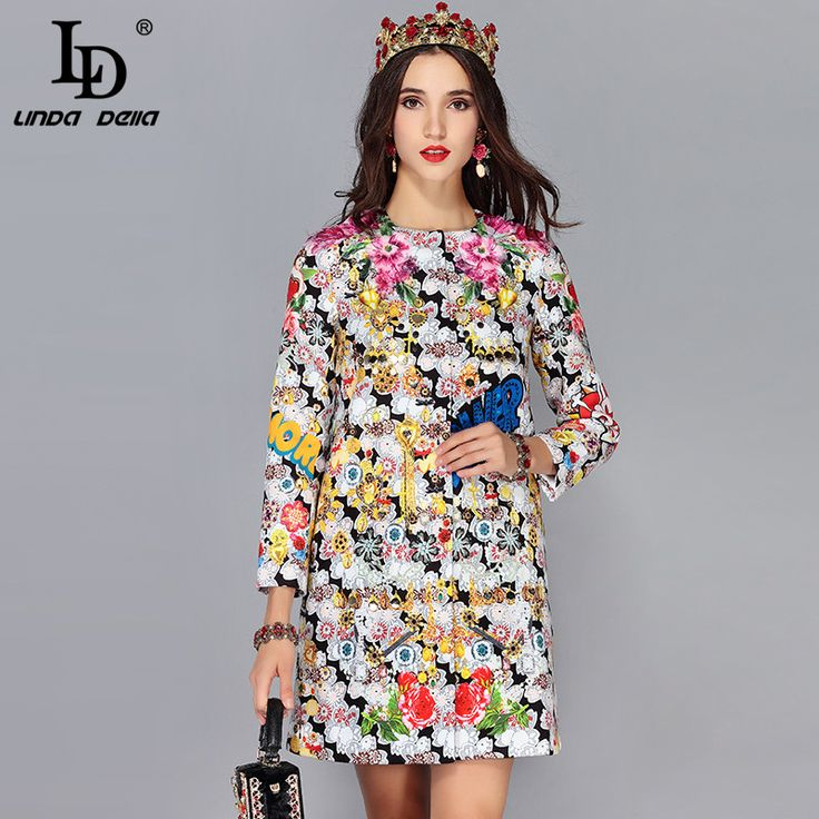 Runway Designer Autumn Winter Coats Women's Flower Floral Print Vintage Outerwear Warm Coat Overcoat Abrigos 2