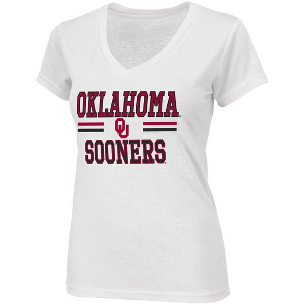 Oklahoma Sooners Women 39 S Pride V Neck T Shirt White 22