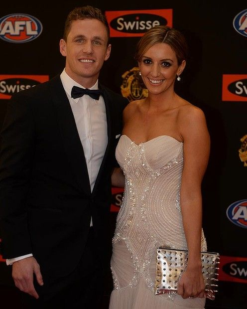 Joel Selwood and Kathryn Cotsopoulos. the clutch Brownlow 2013