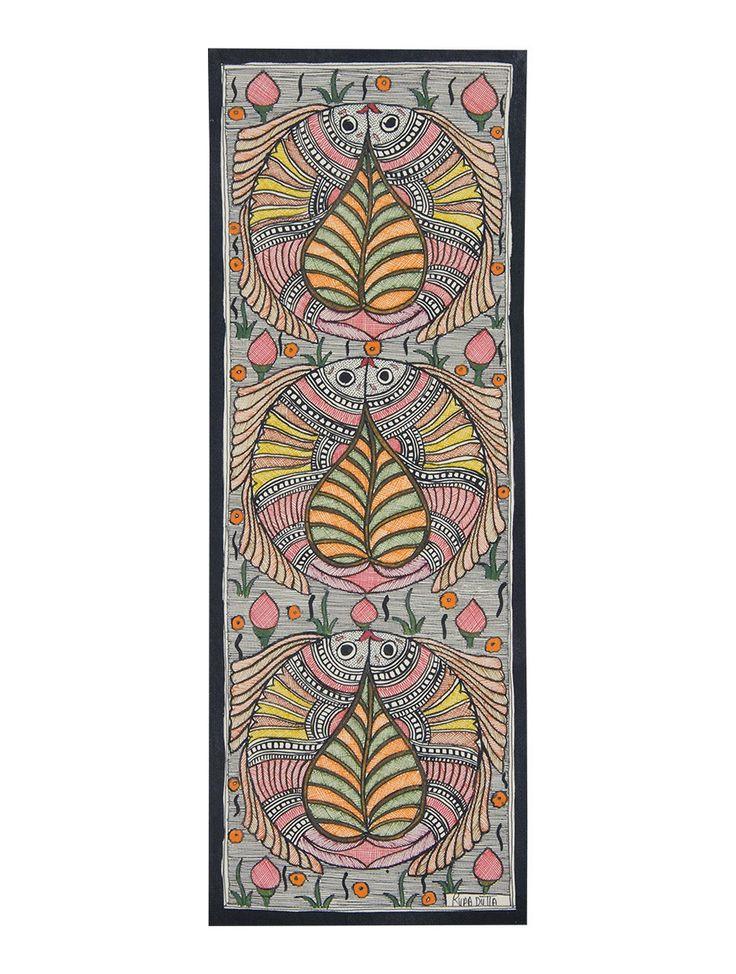 Buy Fish Madhubani Art Work-15in x 5.5in Online at Jaypore.com