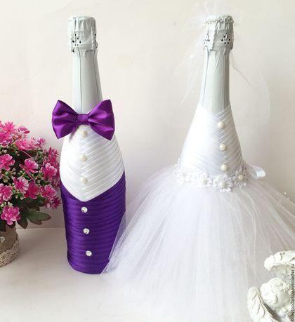 """Свадебные аксессуары ручной работы. Оформление свадебных бутылок """" Жених и…"""