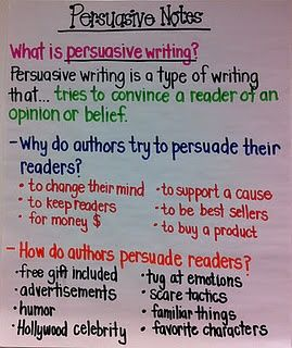 AP - Students could write a persuasive paper on why someone should buy their car, or their gas, their oil, etc.