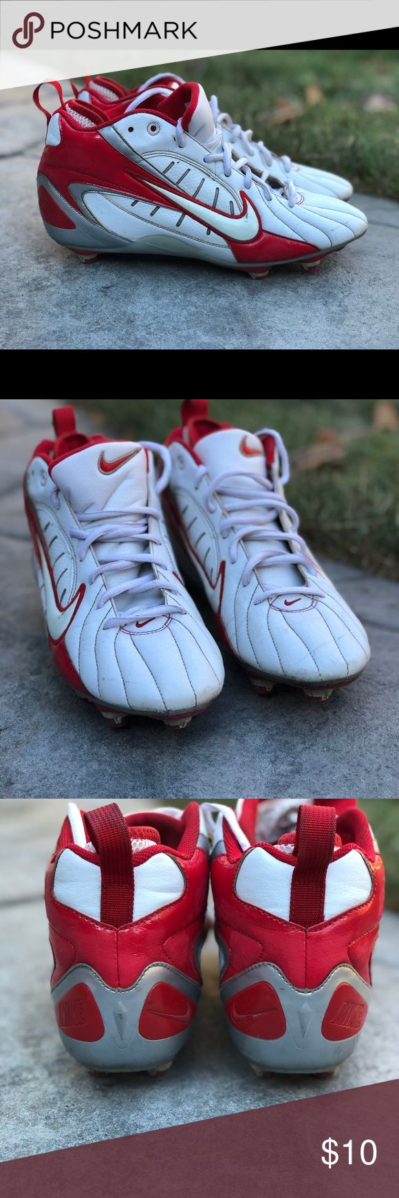 Football Cleats Youth/Men's Size 7.5 White Nike football cleats with red accents. Used for less than one season and in excellent condition! No tears or rips, significant scuffs or odor!! Nike Shoes Athletic Shoes