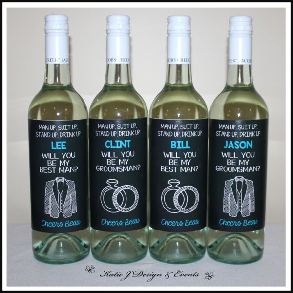 Will you be my Groomsman? Wine Bottle Labels #Hens #Bridal #Shower #Bachelorette #Party #Night #Personalised #Wine #Bottle #Labels #Gifts #Presents
