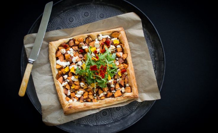 Sweet Potato, Caramelised Onion and Feta Tart (just use a different base)