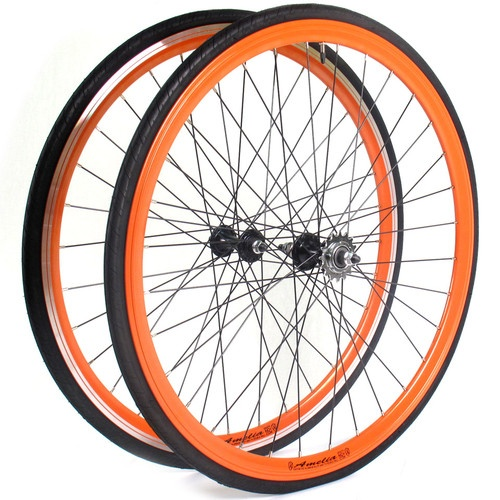 Eighthinch Amelia Track Fixed Gear Wheelset Orange Machined Front Sidewall | eBay