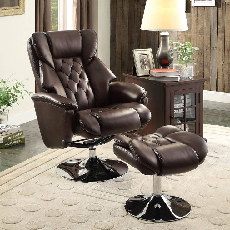 Aleron Dark Brown Bonded Leather Swivel Reclining Chair with Ottoman