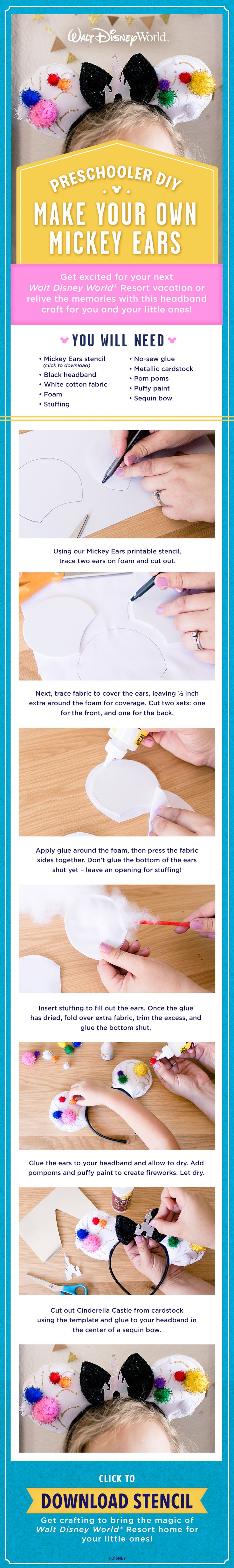 Get excited for your next Walt Disney World Resort vacation or relive the memories with this headband craft for you and your little ones!