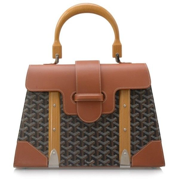 Pre-owned Goyard Chevron Saigon MM ($5,160) ❤ liked on Polyvore featuring bags, handbags, brown, top handle handbags, gucci bags, strap bag, chevron purses and pre owned purses