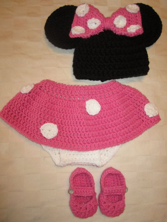 Crochet Pattern For Baby Mermaid Costume : Minnie Mouse Crochet Newborn Outfit by RoxysRicRacs on ...