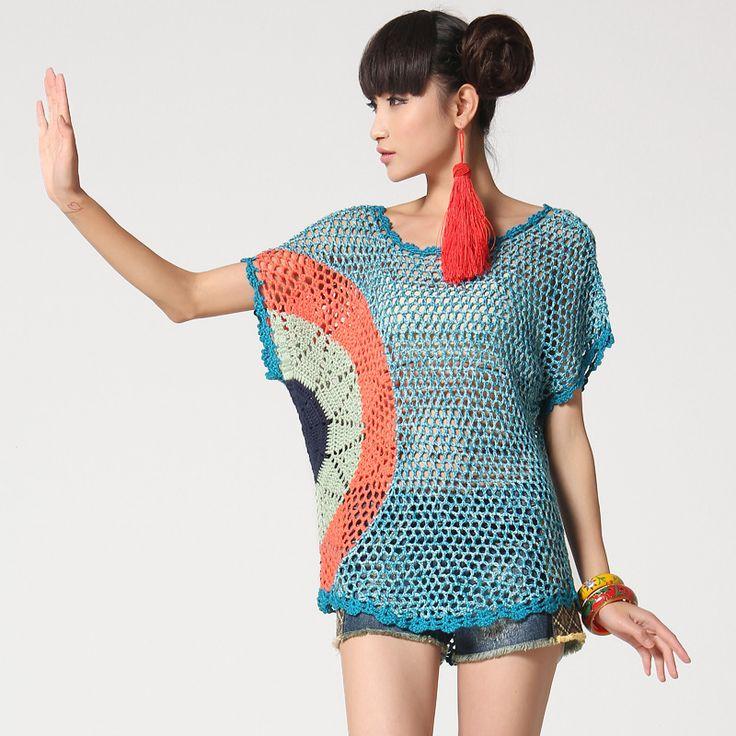 Multicoloured Crochet Mesh Short Sleeved Top  http://img02.taobaocdn.com/bao/uploaded/i2/1124754276/T2JMfkXhRaXXXXXXXX_!!1124754276.jpg