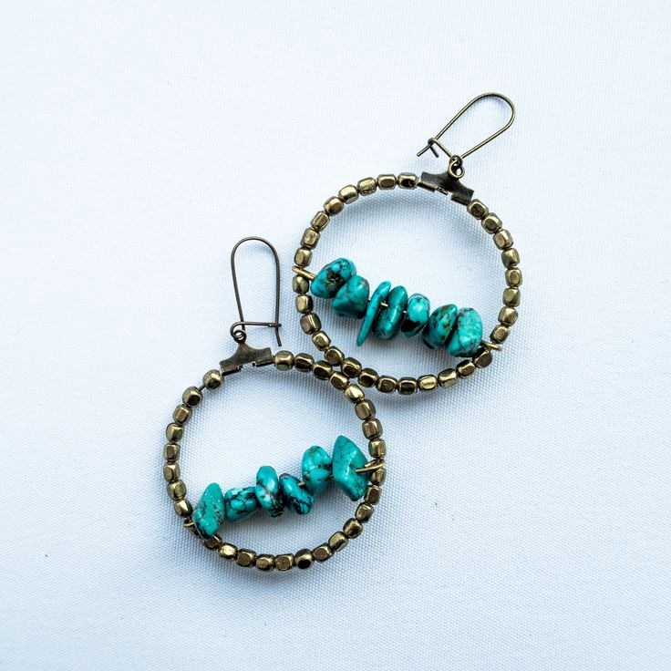 Turquoise circles - earring with real stones by cementary on Etsy