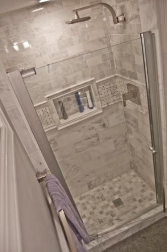 Master Shower: Tile In Shower Stall  MAAX Insight In. W Swing Open Shower  Door In Chrome With Clear At The Home Depot   Home Decor Dreams Part 52