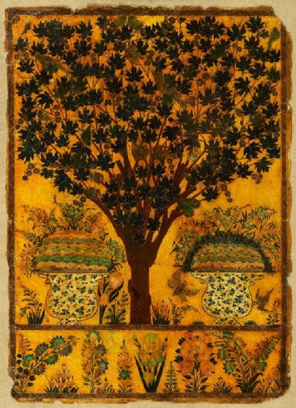 Style: Deccani; Title: 'Book cover with tree, birds, and insects', Golconda, c. 1700