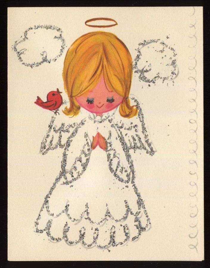 Unused Vintage Glitter Angel Halo Bird Praying Christmas Greeting C Vintage Christmas Greeting Cards Two Pinterest Angel Halo Christmas Greeting