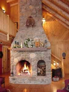 Huge cabin fireplace!