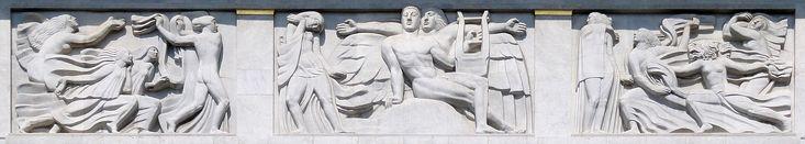 Antoine Bourdelle, 1910–12, Apollon et sa méditation entourée des 9 muses (The Meditation of Apollo and the Muses), bas-relief, Théâtre des Champs Elysées, Paris. This work represents one of the earliest examples of what would become known as Art Deco sculpture