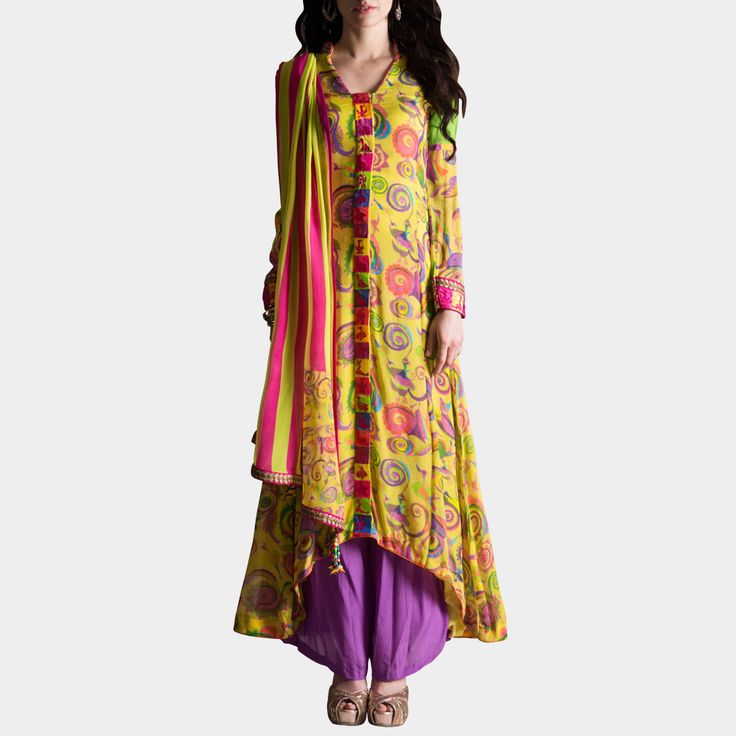 This is a Yellow georgette with multicolor circus birds print sherwani style suit with multicolor block border on centre and sleeves with delicate pink birds embroidery teamed with palazzos and an off grain dupatta. Shop now at: http://www.tadpolestore.com/samor-by-pragya-megha