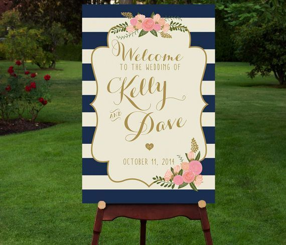 ゲストを一番に出迎えてくれるウェルカムボード♡ネイビーのボーダーにゴールドの文字で高級感あるボードに♡ネイビーのモダンなウェルカムボード♪結婚式のまとめ一覧♪