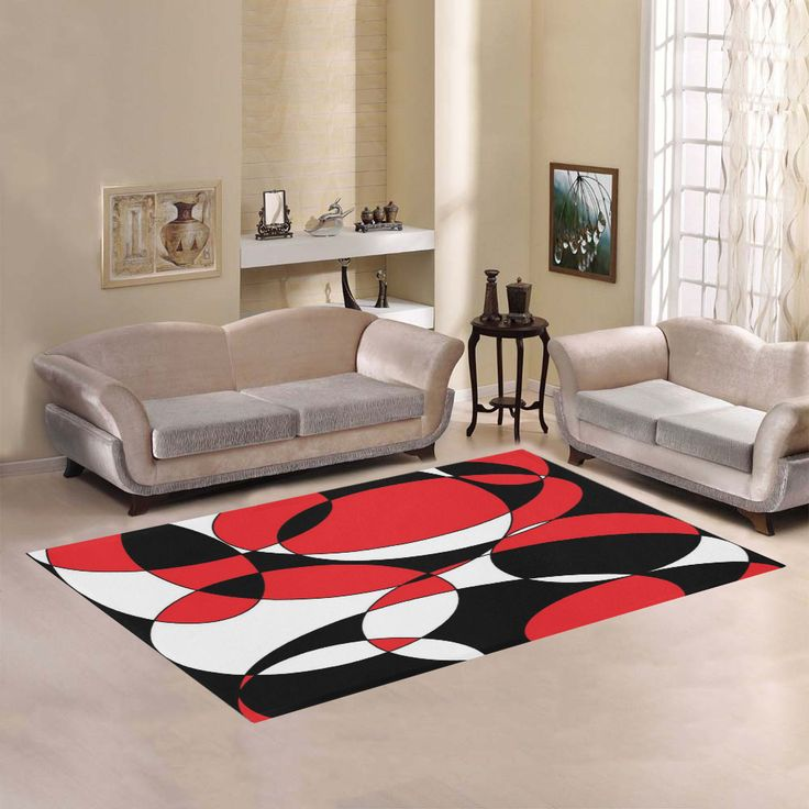 Black, White and Red Ellipticals Area Rug