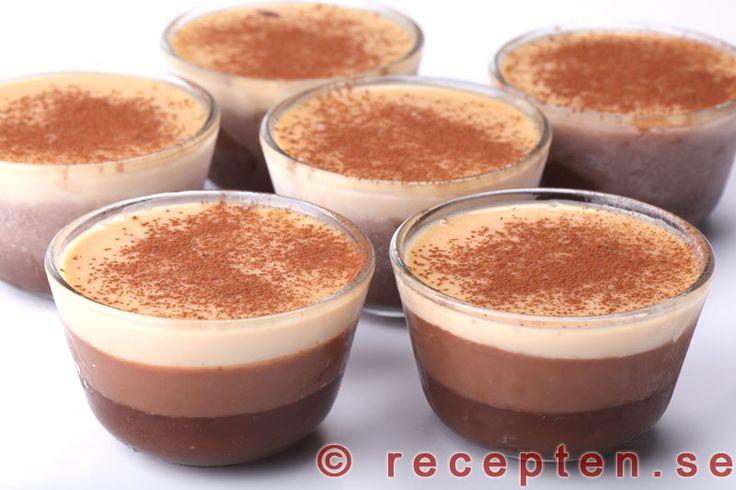 Trippelchokladterrin - Mycket god och lyxig efterrätt med choklad. Enkelt recept på trippelchokladterrin. Bilder steg för steg.