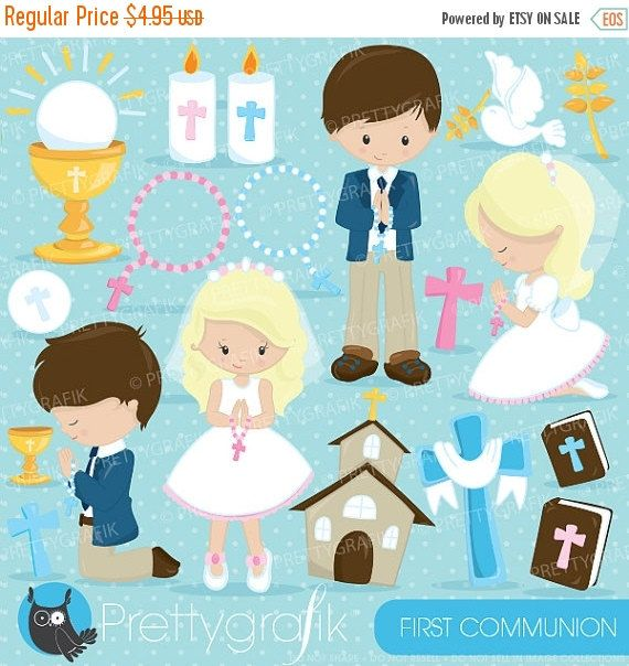 80% OFF SALE First communion clipart by Prettygrafikdesign on Etsy