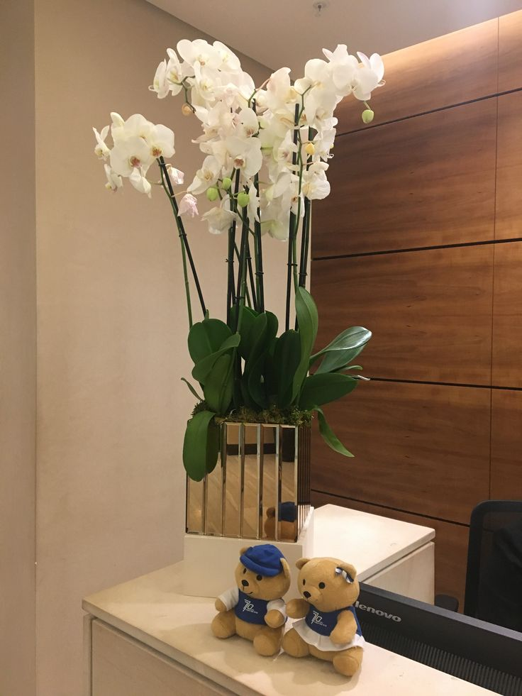 Lots of orchids are dotted about the Singapore Airlines lounge