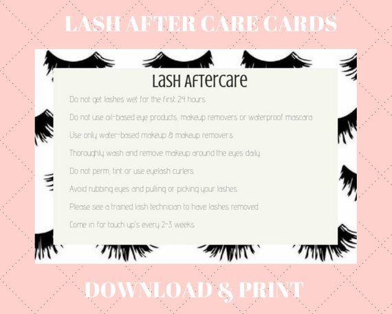 Lash Extension Aftercare Card Design Downloadable Pdf Etsy Lash Extensions Eyelash Extensions Aftercare Eyelash Extensions Cost