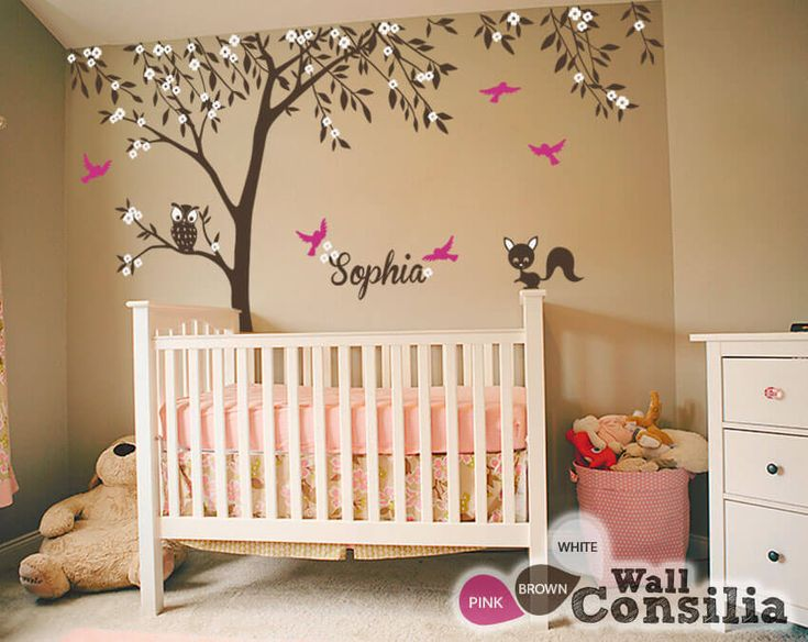 Nursery+tree+decal+with+forest+animals+and+flying+birds+–+Tree+mural