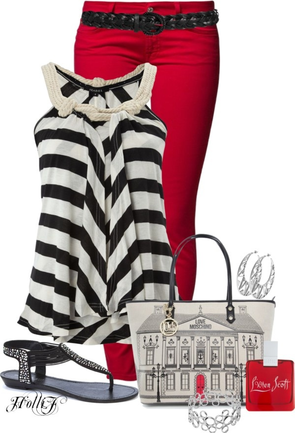 """* COLORED JEANS * RED"" by hrfost1210 on Polyvore"