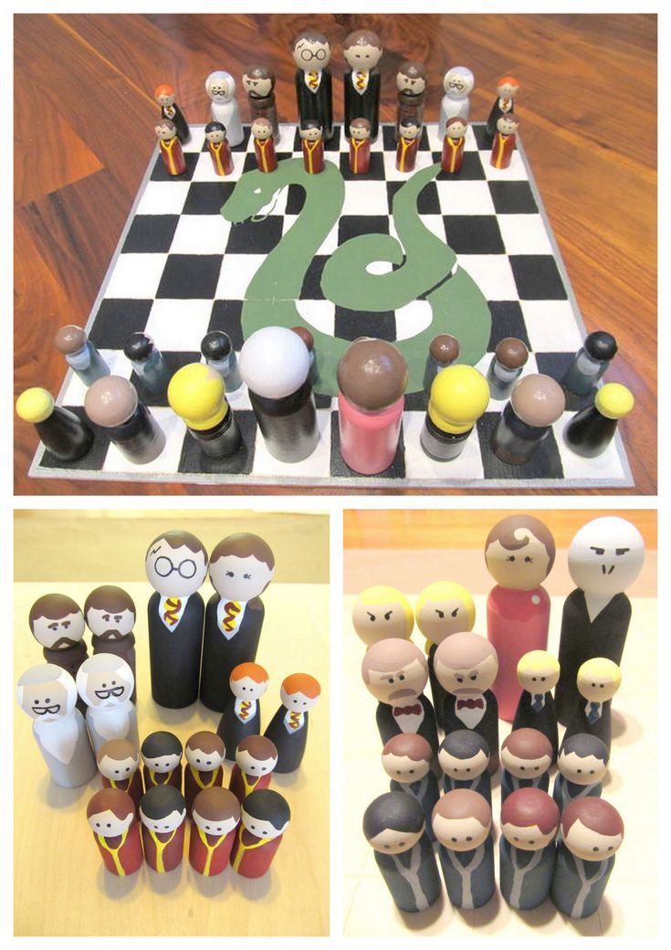 diychristmascrafts: DIY Easy Harry Potter Peg People Chess Set and Case Tutorial from instructables here. These are so cheap to make and I posted Star Wars and Harry Potter Peg People and a link to supplies here. You can also use sharpies to color...