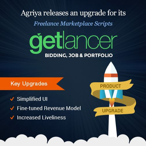 Agriya's brand new solution for the development of Freelance websites is finally here. An all new upgraded version of Getlancer bidding, Jobs and Portfolio is released specifically to serve and match up with the demands of the current freelance market.  Get to know more here, https://www.agriya.com/products/freelance-marketplace-platform
