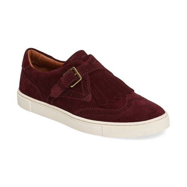 Women's Frye 'Gemma' Kiltie Slip On-Sneaker (91.330 CRC) ❤ liked on Polyvore featuring shoes, sneakers, bordeaux, wing tip shoes, slip-on sneakers, anchor shoes, slip on sneakers and slip-on shoes