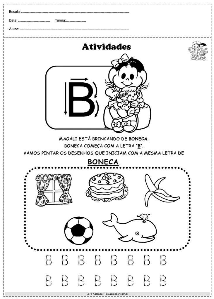 Atividades Com Alfabeto Turma Da Monica Letra B Atividades Com O