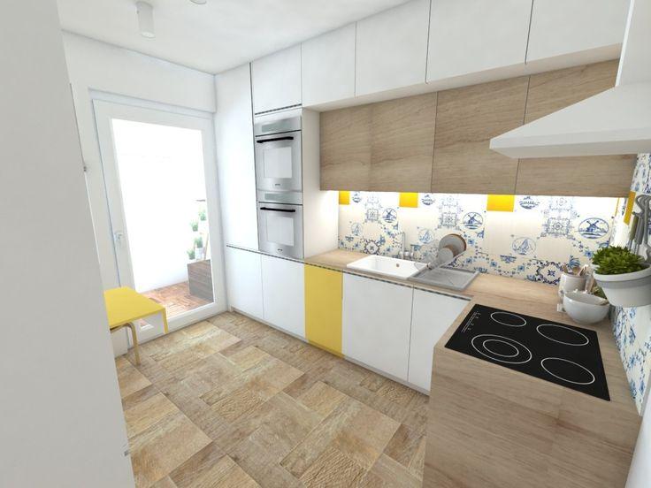 Biela kuchynská linka v kombinácii biela a drevený dekor