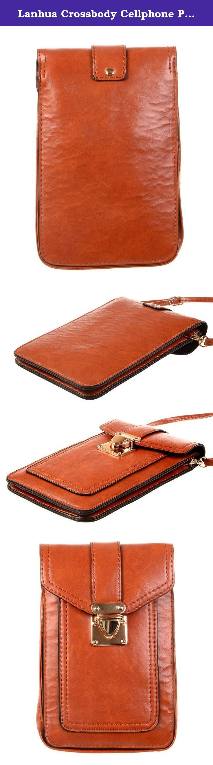 """Lanhua Crossbody Cellphone Pouch - Nylon Mini Cross Body Shoulder Bag Pouch Wallet for Carrying Money Key Cards Samsung S7 ,Iphone 6g/6s/5g/4g Cellphone below 5.5"""" , Brown. Sports Armband fits any size mobile phones MP3 MP4 IPOD below 6,3 inch (with a case) ."""