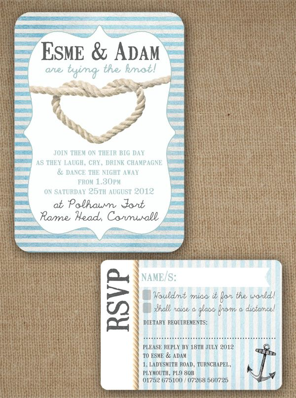 Knots And Anchors Nautical Seaside Theme Wedding Invitation With RSVP By In The Treehouse