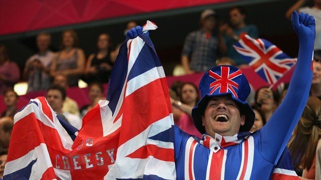 A Great #Britain fan shows his support during the women's Handball preliminaries Group A - Match 5 between Montenegro and Great Britain on Day 1 of the London 2012 Olympic Games at the Copper Box on 28 July. Olympics!