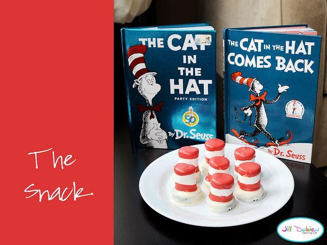 Dr. Seuss Day snack: White Chocolates, Happy Birthday, Cat, Oreo Dips, Hats Snacks, Dr. Seuss Snacks, Birthday Celebrity, Red Chocolates, Hats Treats