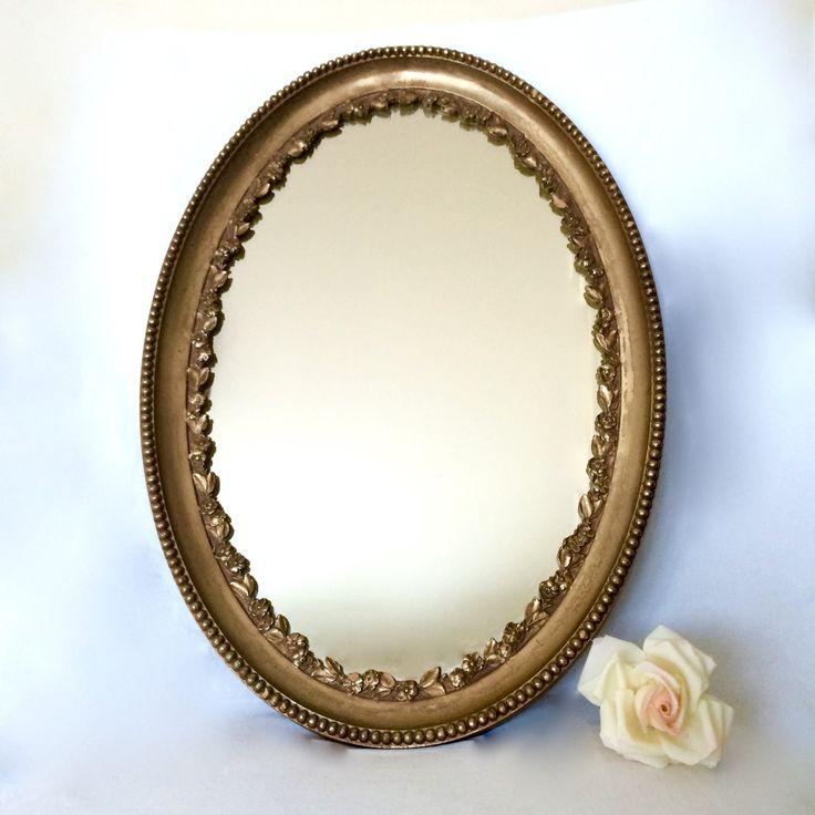 Vintage Gilt Gold Oval Mirror Ornate Resin Hollywood Regency Mirror by EllasAtticVintage on Etsy