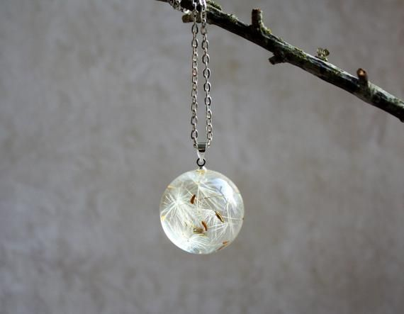 Dandelion Seed Necklace Resin Sphere Botanical Pendant Real Flower Necklace Symbolic Jewelry Unique Necklaces 925 Sterling Silver Chain Resin Jewelry