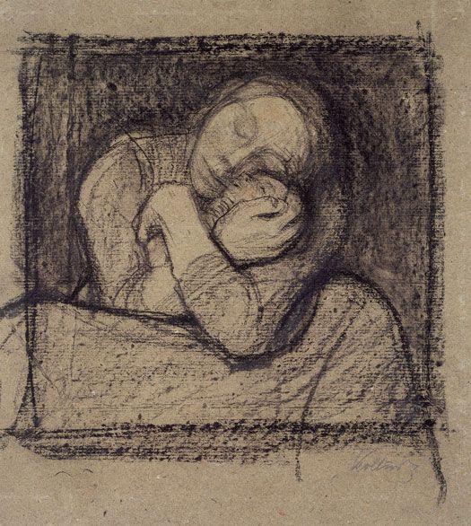 Käthe Kollwitz (1867-1945), Crouching Mother Pressing Her Child to Her Bosom, 1899, Black chalk and charcoal, 402 x 362 mm, Städel Museum, Frankfurt am Main, Photo: U. Edelmann – Städel Museum – ARTOTHEK, © VG Bild-Kunst, Bonn 2012, Acquired in 1910 from Galerie Thannhauser, Munich.