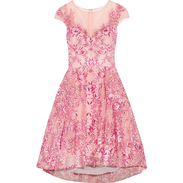 Marchesa Notte Embroidered metallic tulle mini dress (£313) ❤ liked on Polyvore featuring dresses, pink, metallic mini dress, short pink dress, pink mini dress, pastel pink dresses and pink metallic dress
