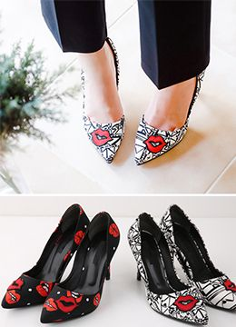 StyleOnme_Lip Print Stiletto High Heels #redlips #heels #girly #feminine #kfashion