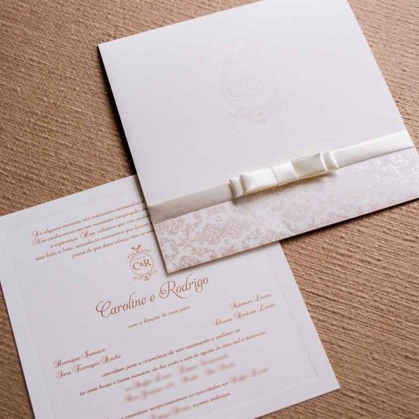 Convite de casamento classico - Papel e Estilo