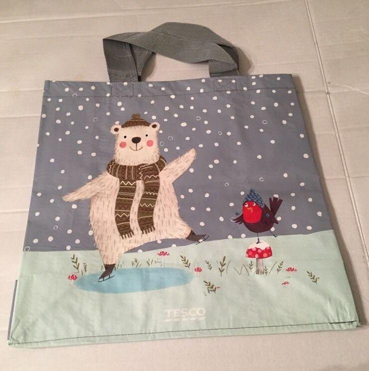 Tesco Christmas Polar Bear Tote Bag Robin Bird 2015