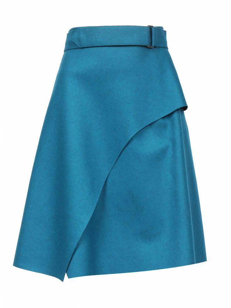 Купить со скидкой Sportmax бирюзовая юбка из шерсти с драпировкой (86152) – распродажа в Боско Аутлет